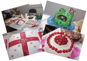 A selection of cakes entered in our WW1 cake competition